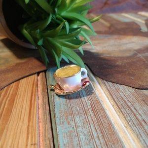 Dainty teacup coffee brooch pin